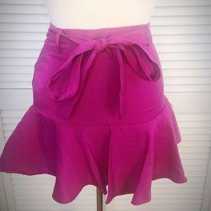 Forever 21 magenta fit-n'-flare tie-top skirt